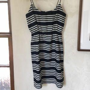 Jcrew navy blue and white striped dress size 2